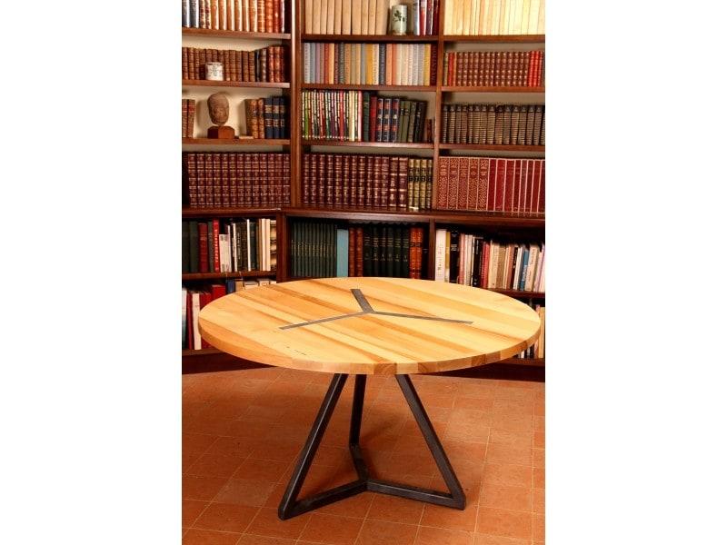 Table ronde design en bois et acier vente de barnabe for Conforama table ronde