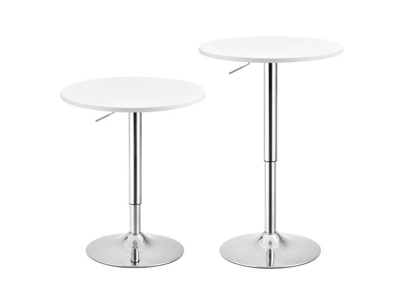 Table de bar ronde bistrot à hauteur réglable mdf diamètre 60 cm blanc helloshop26 03_0006213