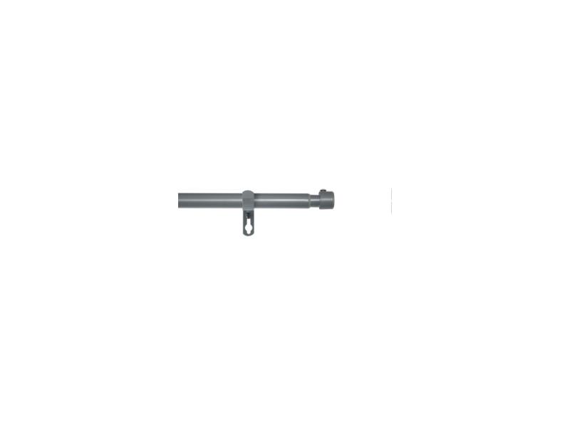 Kit tringle à rideau extensible - 120-210 cm - capuchon - gris