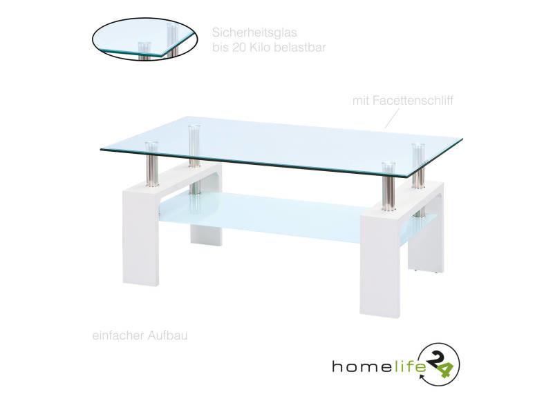 Table Basse Design Blanc Verni Et Plateau En Verre Securit Vente