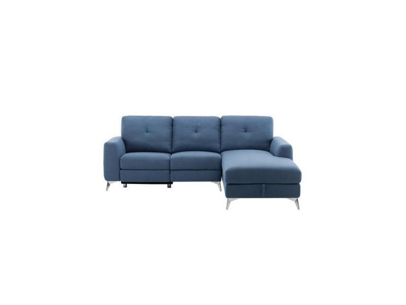 Canapé d'angle droit avec 1 place relax électrique + coffre - tissu bleu - l 260 x p 51 x h 90 cm - franklin BOFRANKLIND8515D