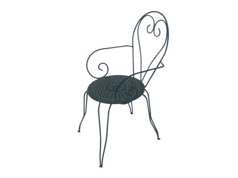 Chaise de jardin - fauteuil de jardin - tabouret de jardin lot de 4 fauteuils de jardin romantique empilable en fer forgé - vert