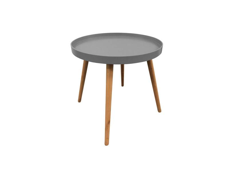 Table basse grise avec plateau rond
