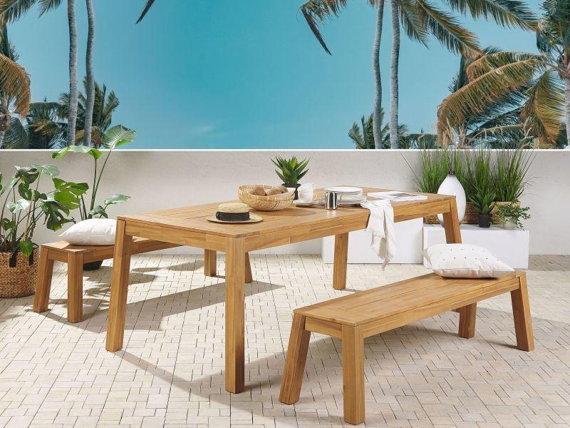 Ensemble de jardin 6 places table et 2 bancs en bois acacia clair livorno 250261
