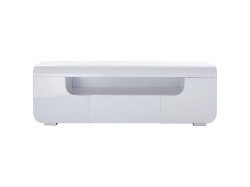 Meuble Tv Meuble Hi Fi Miami Meuble Tv Avec Led Contemporain Laque Blanc Brillant L 150 Cm Vente De Sans Marque Conforama