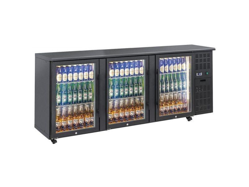 Arrière bar réfrigéré portes vitrées en skinplate anthracite - qbg - r2904 portes550vitrée/battante