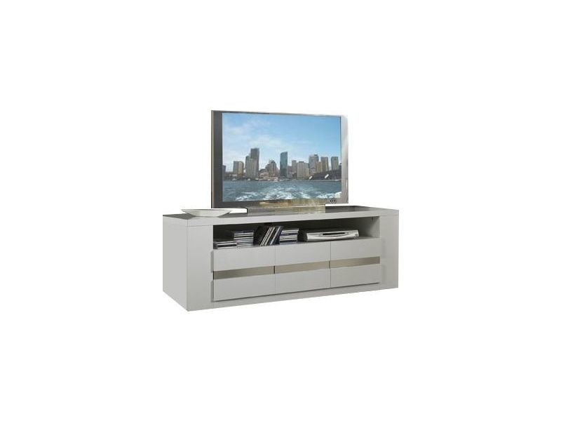 Meuble tv design coloris blanc et gris vente de for Meuble tv blanc gris