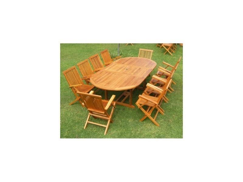 Magnifique salon de jardin teck \'huilé\' 10-12 pers.-100% fauteuils+ ...