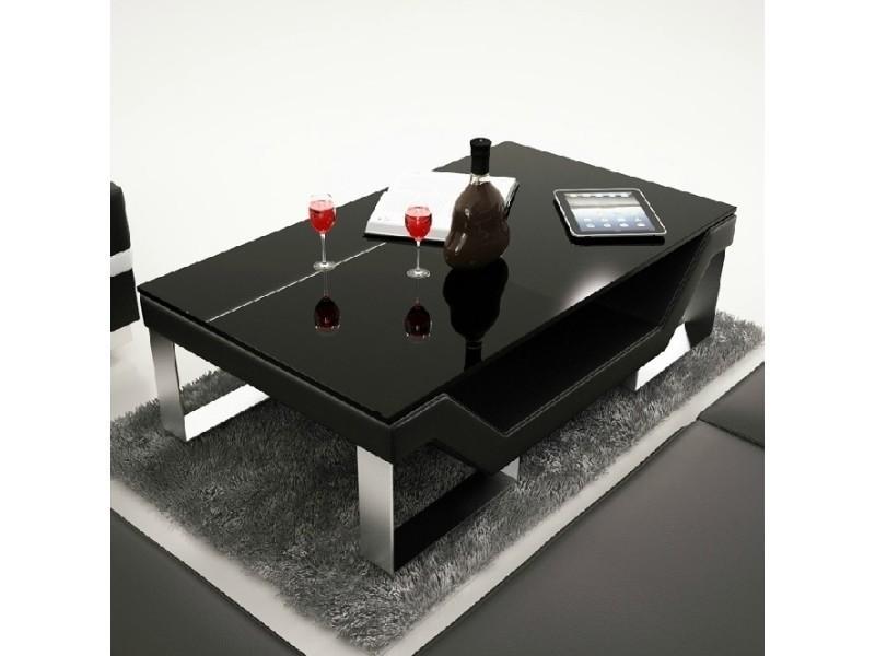 Table basse design noire pieds chromé ulys-