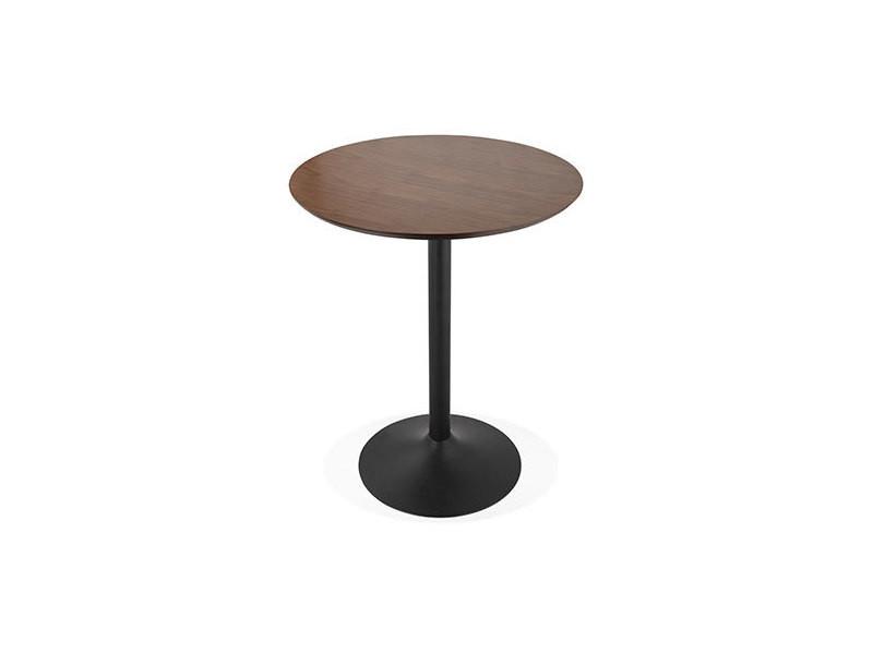 Table de bar ronde 90 cm en bois foncé et métal noir - barman