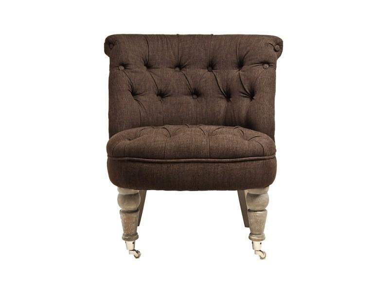 fauteuil crapaud capiton facon lin marron vente de ego. Black Bedroom Furniture Sets. Home Design Ideas