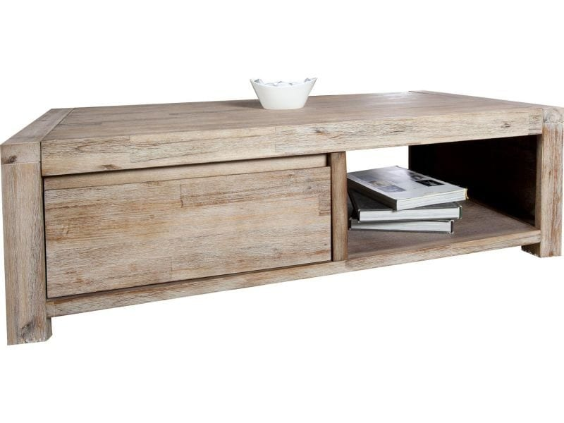 Table basse rustique en bois massif d 39 acacia vente de comforium conforama for Table basse acacia massif