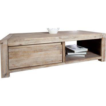 Table basse rustique en bois massif d 39 acacia vente de comforium conforama - Table basse en bois conforama ...