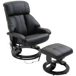 Fauteuil de massage relaxation chauffage electrique repose-pied noir 71