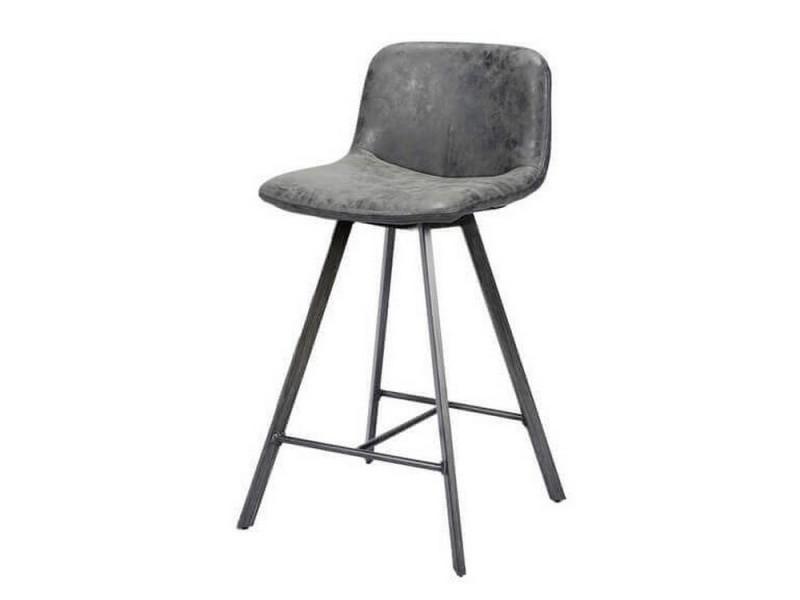 Zenon - siège de bar gris / noir effet vieilli