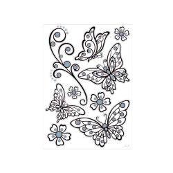 Sticker relief - 30 x 40 cm - papillons et fleurs