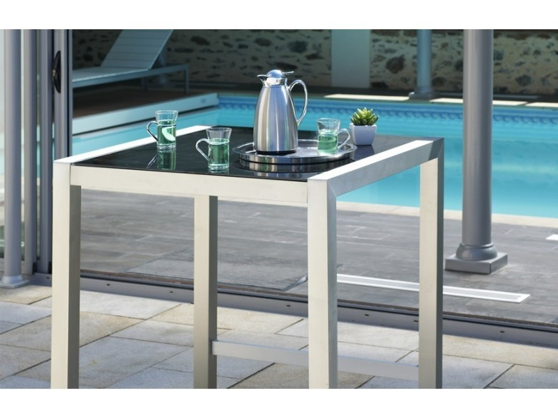 Table bar en aluminium et plateau verre vente de for Bar en verre