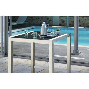 table bar en aluminium et plateau verre vente de. Black Bedroom Furniture Sets. Home Design Ideas