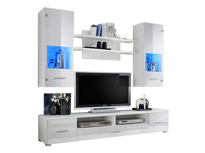 Meuble Tv Mural Magnetic Blanc Brillant Et Blanc Mat 200cm Conforama