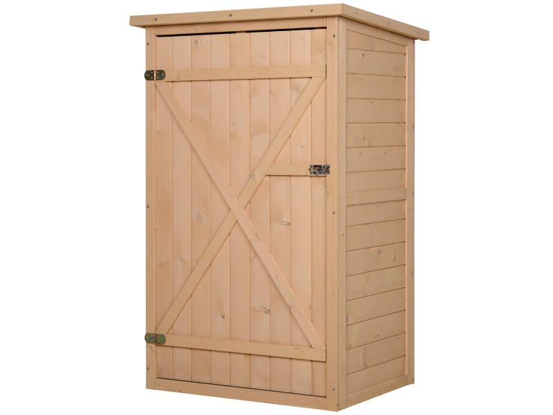 Armoire de jardin grande porte verrouillable 2 étagères toit bitumé dim. 75l x 56l x 115h cm bois sapin