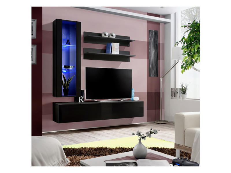Ensemble meuble tv mural - fly ii - 160 cm x 170 cm x 40 cm - noir