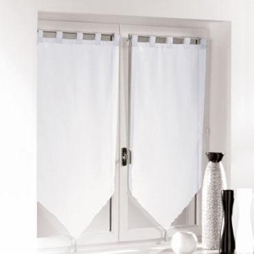 une paire de rideau voilage passants pompon 60 x 90 cm voiline blanc vente de rideau voilage. Black Bedroom Furniture Sets. Home Design Ideas
