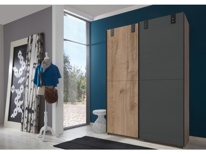 Armoire design 2 portes coulissantes chêne poutre rechampis graphite - l135 x h198 x p64 cm -pegane-