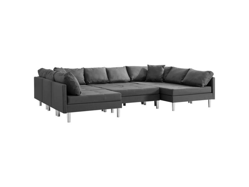 Vidaxl canapé sectionnel tissu gris foncé 287205