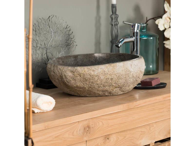 4bad68c812fe3a Vasque à poser en pierre naturelle galet de riviere 40 cm 32016 - Vente de  Vasque et lavabo - Conforama