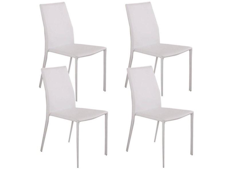Lot de 4 chaises design polo revêtement polyuréthane façon cuir blanc 20100861468