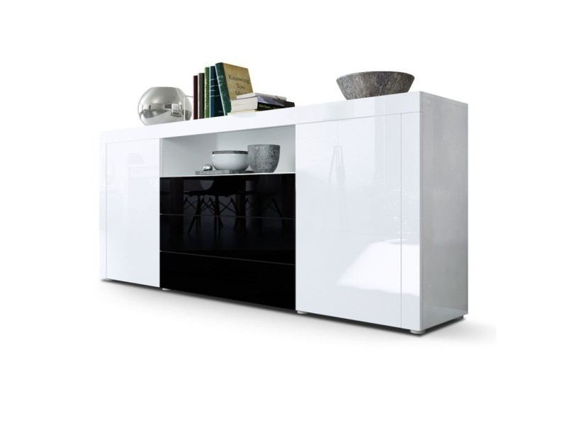Buffet laqué blanc / noir 167 cm