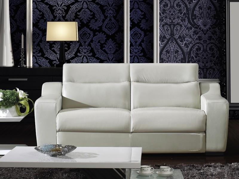 Canapé relax électrique 3 places nolan - cuir supérieur - ivoire