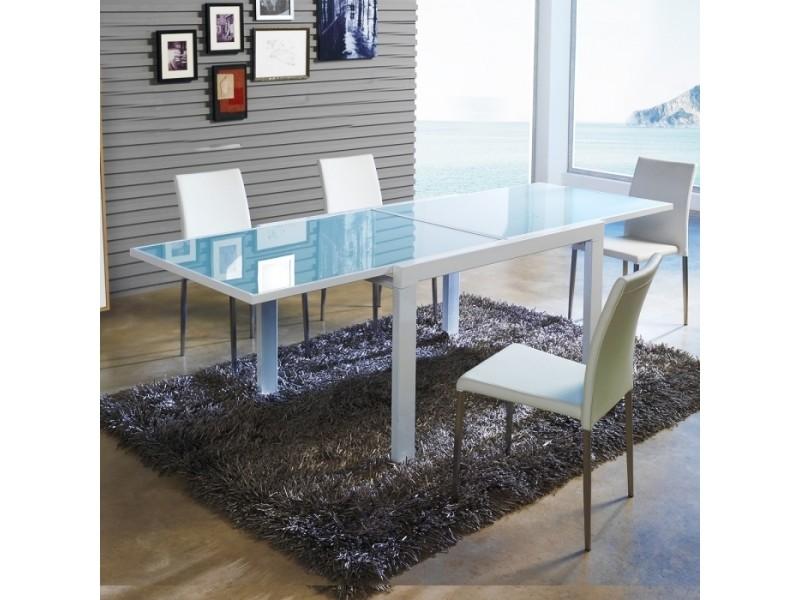 Table à manger design extensible verre et blanche 90x120/240cm par zendart sélection