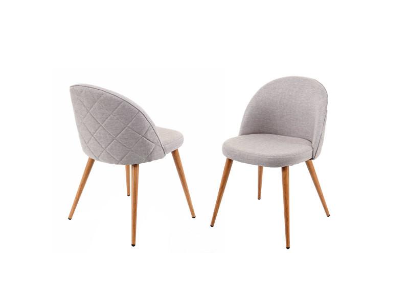 2x chaise de salle à manger hwc-d53, fauteuil, style rétro années 50, en tissu ~ gris clair