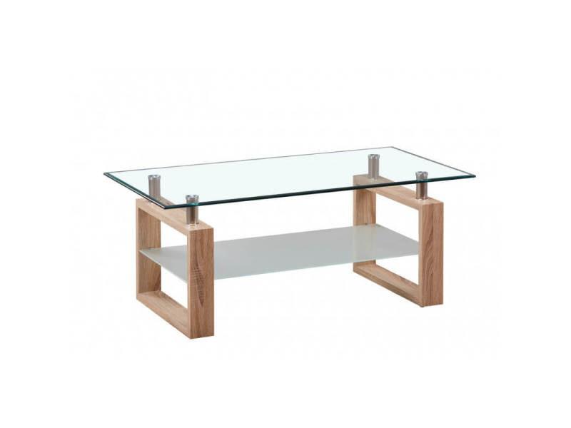 Table Basse Design Verre Et Bois Coloris Chene Andora Vente De Vivabita Conforama