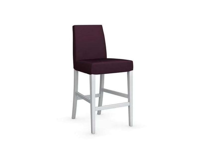 Chaise de bar latina piétement hêtre laqué blanc assise tissu aubergine 20100839328