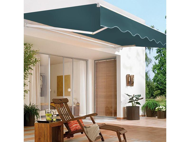 Giantex auvent de terrasse rétractable manuel de 2,5 x 2m, toile de protection solaire avec tissu résistant aux uv et à l'eau, cadre manivelle, pour terrasse extérieure de balcon (vert)