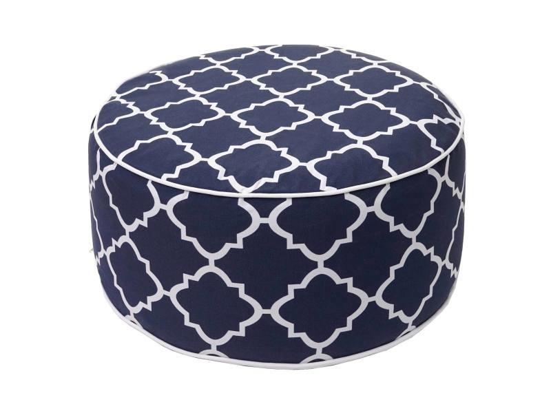 Pouf hwc-g31, pouf, coussin, pouf pour jardin, spun poly in- / outdoor, 29x55cm ~ bleu-blanc