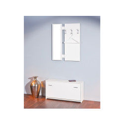 Vestiaire en panneaux de particules mélaminé coloris blanc - dim : 92 x 26 x 138/200 cm -pegane-
