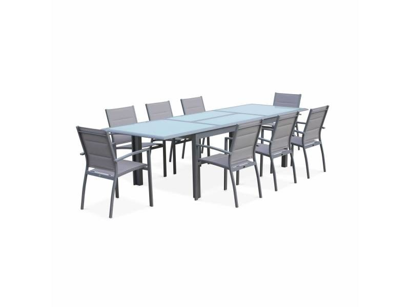 Salon de jardin table extensible - philadelphie gris clair ...