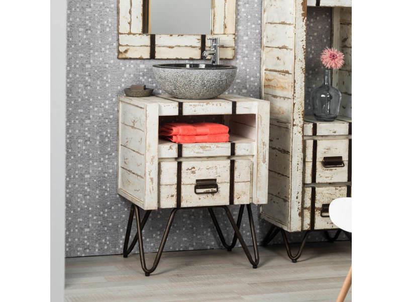 Meuble de salle de bain en mindi 60 cm loft blanc 31051B