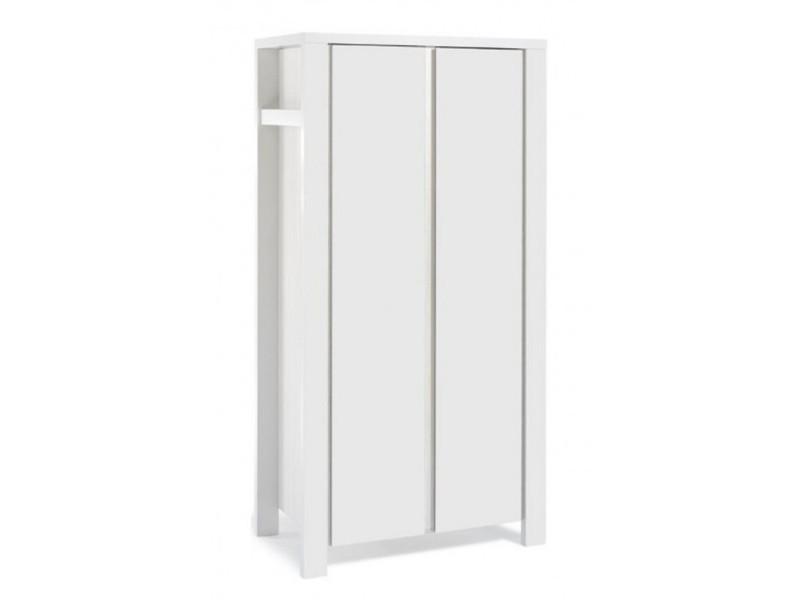 Armoire bébé 2 portes bois laqué blanc milano white l 100 x h 195 x p 55 cm 06 647 52 02