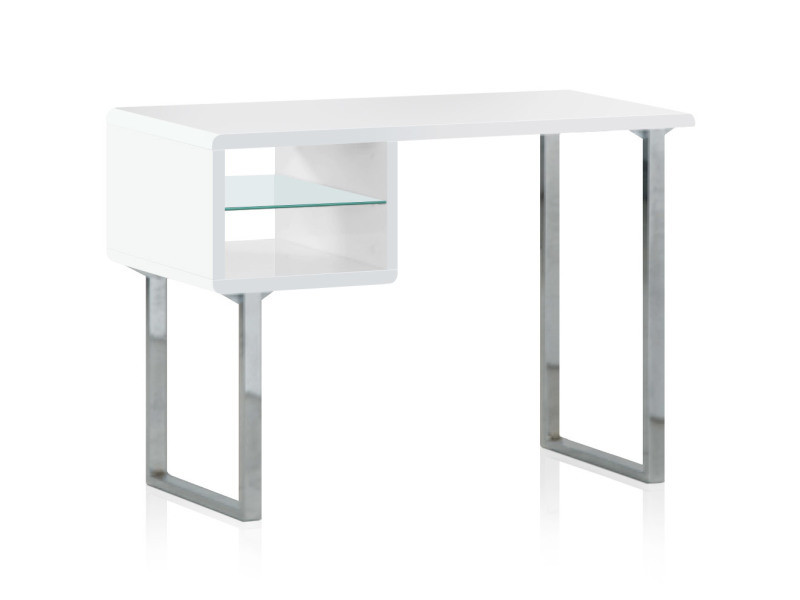 Bureau blanc pied inox: console bureau design natura bois blanc