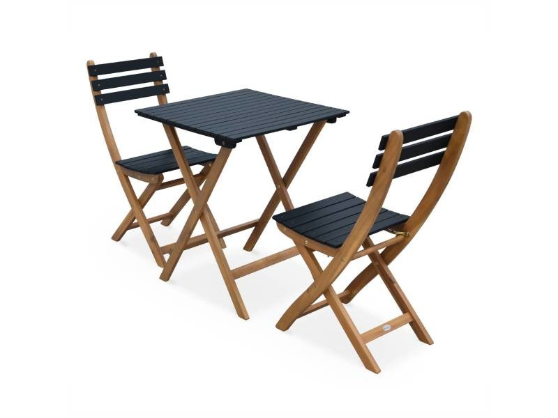 Table de jardin bistrot 60x60cm - barcelona bois / noir - pliante ...