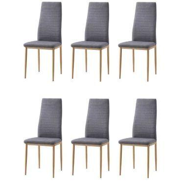 couleur de salle tissu gris Lot x6 chaises pied à manger CxBoEQeWdr