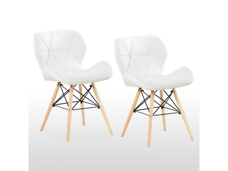 Lot de 2 chaises design en simili cuir blanches - cecilia eiffel