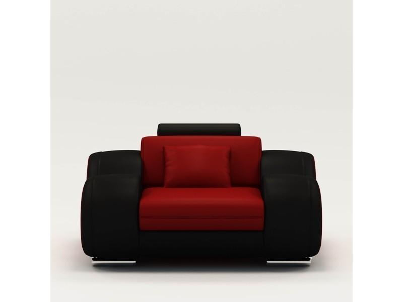 Fauteuil cuir relax design rouge et noir oslo