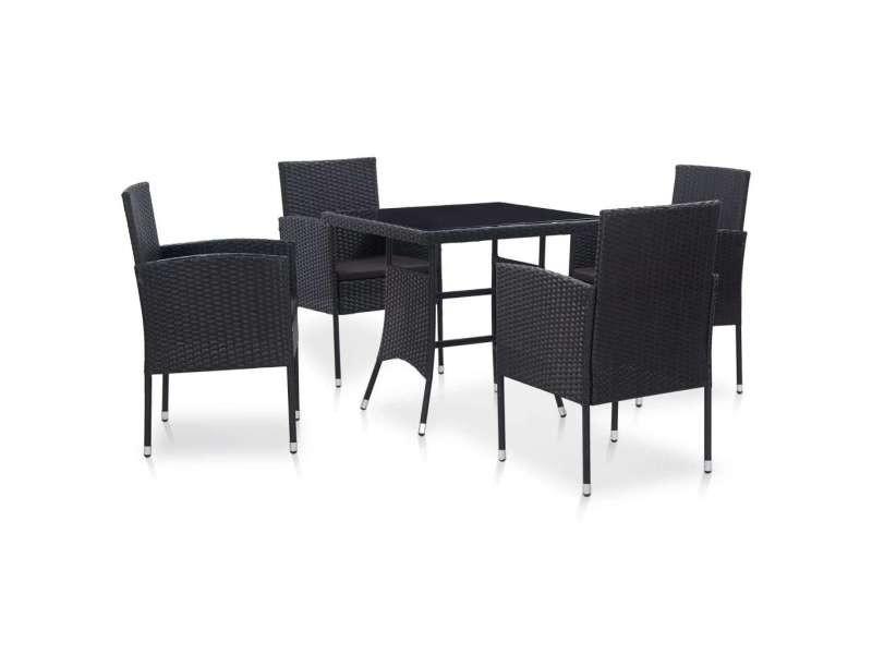 Contemporain mobilier de jardin gamme caracas mobilier à dîner d'extérieur 5 pcs résine tressée noir