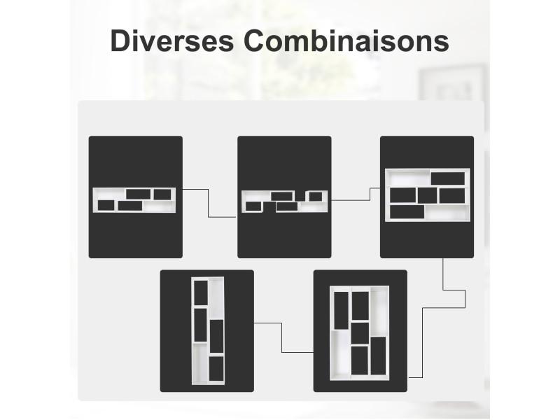 Meuble de rangement modulable bibliothèque étagère meuble tv 7 casiers 120-165l x 35l x 50h cm ...