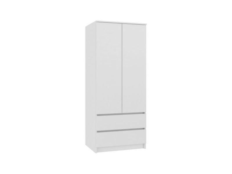 Turin - armoire chambre bureau - penderie multifonctions - 2 portes - 2 grands tiroirs - meuble de rangement - dressing - blanc